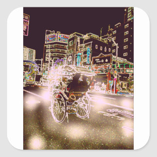 Adesivo Quadrado Noite de Tokyo Rickshw