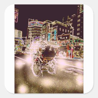 Adesivo Quadrado Noite do rickshaw de Tokyo