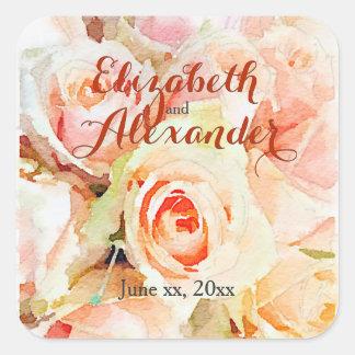 Adesivo Quadrado Nomes doces dos rosas do pêssego do design da