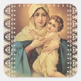 Adesivo Quadrado Nossa senhora da Virgem Maria Jesus de Schoenstatt