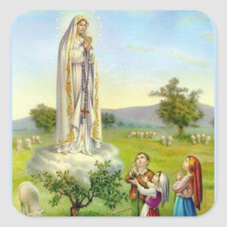 Adesivo Quadrado Nossa senhora de carneiros das crianças de Fatima