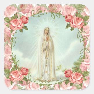 Adesivo Quadrado Nossa senhora de rosas cor-de-rosa de Fatima