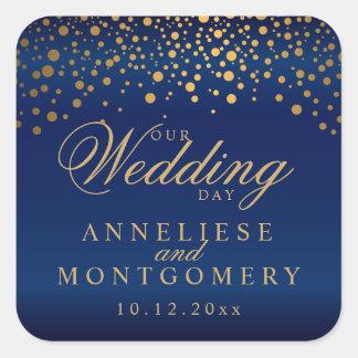 Adesivo Quadrado Nossos pontos do ouro do dia do casamento em azuis