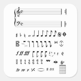 Adesivo Quadrado Notação musical