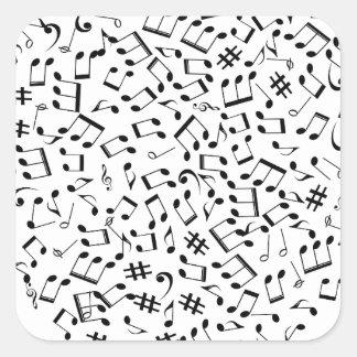 Adesivo Quadrado Notas da música