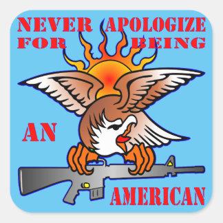 Adesivo Quadrado Nunca desculpa-se sendo um AR15 americano M16