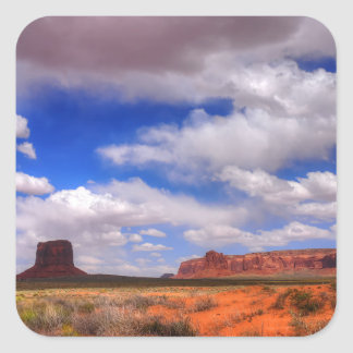 Adesivo Quadrado Nuvens sobre o vale do monumento, UT