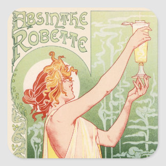 Adesivo Quadrado O absinto Robette - poster vintage do álcool