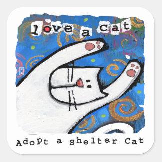 Adesivo Quadrado O amor, adota gatos do abrigo
