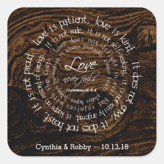 Adesivo Quadrado O amor é casamento circular do texto da grão de