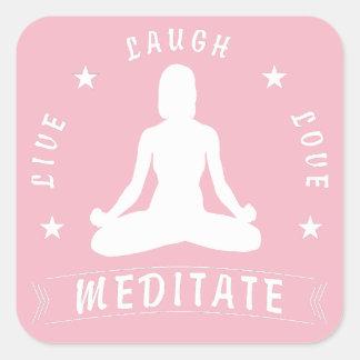 Adesivo Quadrado O amor vivo do riso Meditate o texto fêmea