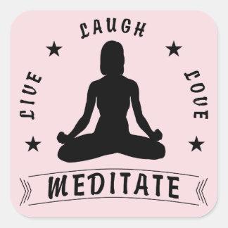 Adesivo Quadrado O amor vivo do riso Meditate o texto fêmea (o