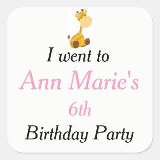 Adesivo Quadrado O aniversário de criança animal do trem do circo
