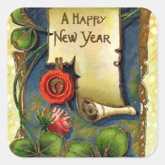 Adesivo Quadrado O ano novo que cumprimenta com trevo