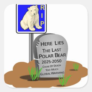 Adesivo Quadrado O aquecimento global, RASGA o urso polar 2050