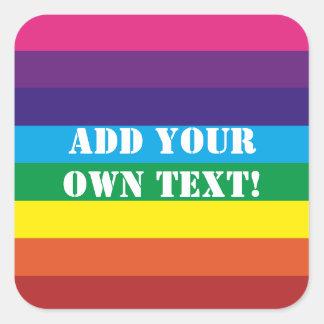 Adesivo Quadrado O arco-íris feito sob encomenda do texto listra a
