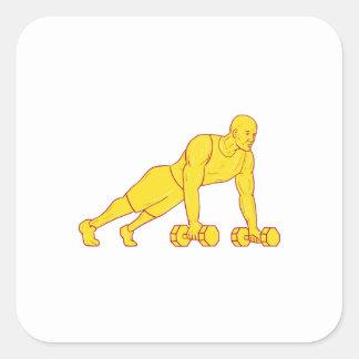 Adesivo Quadrado O atleta da malhação levanta o desenho do Dumbbell