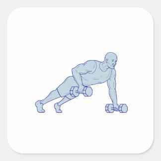 Adesivo Quadrado O atleta da malhação levanta um desenho do
