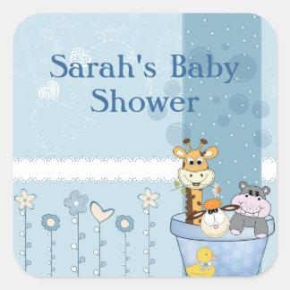 Adesivo Quadrado O azul bebé pontilha o chá de fraldas das flores