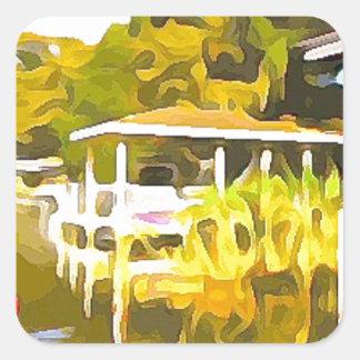 Adesivo Quadrado O barco entra o lago Osceola