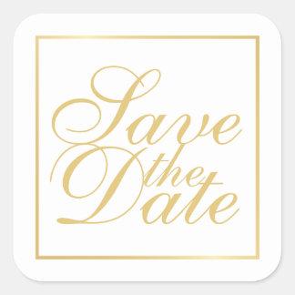Adesivo Quadrado O branco e o casamento elegante do ouro salvar a