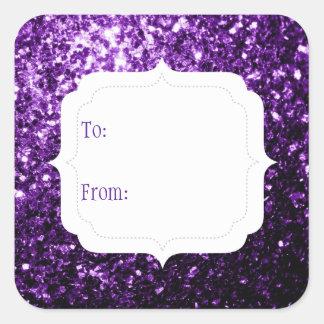 Adesivo Quadrado O brilho roxo escuro bonito sparkles Tag do