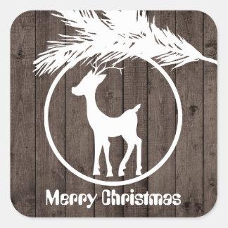 Adesivo Quadrado O bulbo da rena do Natal do país adiciona a