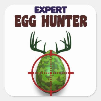 Adesivo Quadrado O caçador perito da páscoa, cervo do ovo visa o