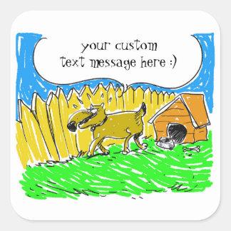 Adesivo Quadrado o cão diz algo desenhos animados engraçados