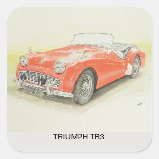 Adesivo Quadrado O carro de esportes vermelho de Triumph TR3