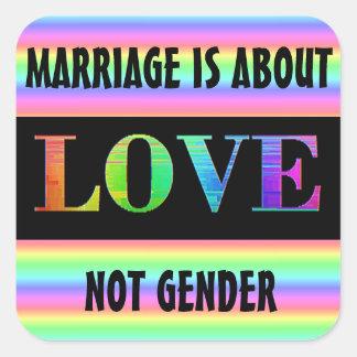 Adesivo Quadrado O casamento é sobre o arco-íris LGBT do género do