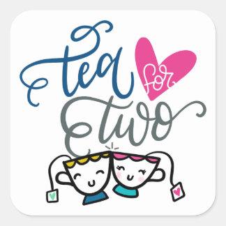 Adesivo Quadrado O chá para dois, entrega indicado por letras