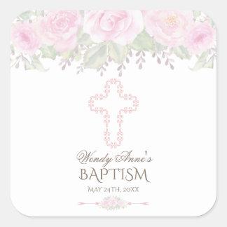 Adesivo Quadrado O chique cora batismo floral da menina do jardim