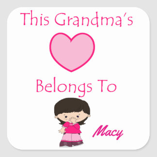 Adesivo Quadrado O coração desta avó pertence a