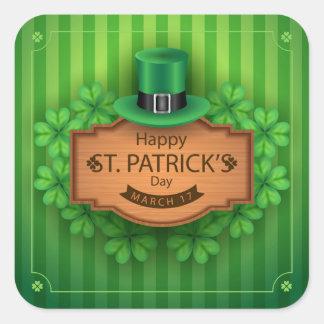 Adesivo Quadrado O dia de St Patrick - chapéu & trevos