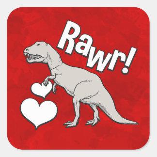 Adesivo Quadrado O dia dos namorados do tiranossauro T Rex de Rawr