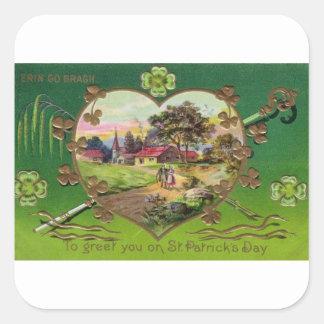 Adesivo Quadrado O dia retro de St Patrick do irlandês do vintage