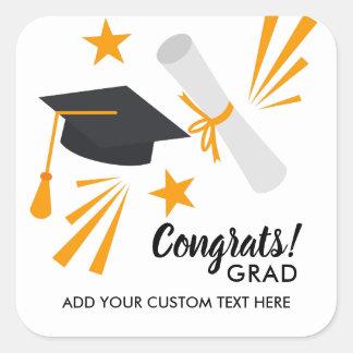 Adesivo Quadrado O diploma do boné do formando de Congrats da