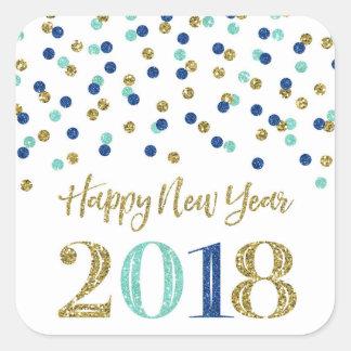 Adesivo Quadrado O feliz ano novo azul 2018 dos confetes do brilho