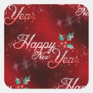 Adesivo Quadrado o feliz ano novo do azevinho