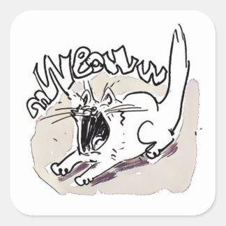 Adesivo Quadrado o gato gritando diz desenhos animados engraçados