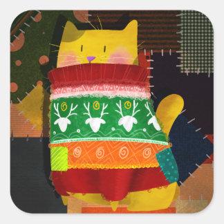 Adesivo Quadrado O gato na camisola feia