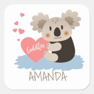 Adesivo Quadrado O Koala bonito afaga ID386