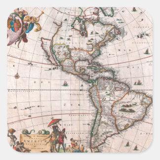 Adesivo Quadrado O mapa de Visscher do mundo novo