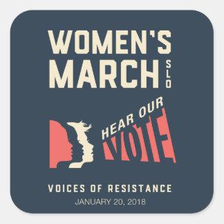 Adesivo Quadrado O março SLO das mulheres - em janeiro de 2018