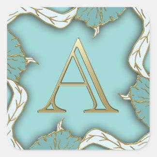 Adesivo Quadrado O melhor fundo do monograma da inicial da letra do