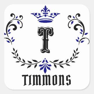 """Adesivo Quadrado O monograma """"T"""" da grinalda da coroa personaliza a"""