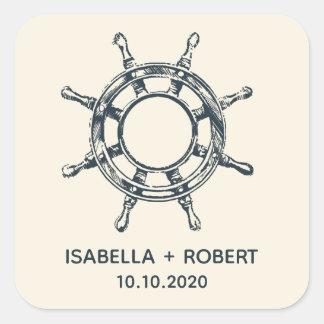 Adesivo Quadrado O monograma Wedding da roda   do navio