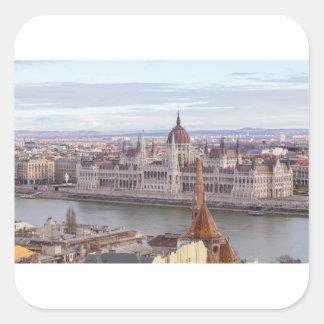 Adesivo Quadrado O parlamento húngaro Budapest em o dia
