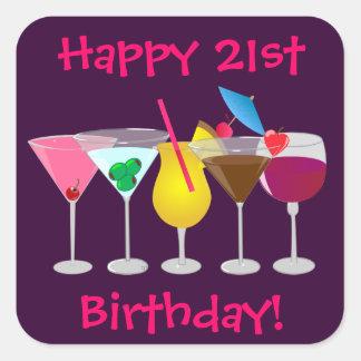 Adesivo Quadrado O partido de aniversário de 21 anos feliz bebe